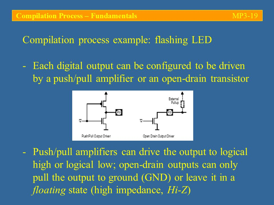 Compilation process example: flashing LED -Each digital output can be configured to be driven by a push/pull amplifier or an open-drain transistor -Push/pull amplifiers can drive the output to logical high or logical low; open-drain outputs can only pull the output to ground (GND) or leave it in a floating state (high impedance, Hi-Z) Compilation Process – FundamentalsMP3-19