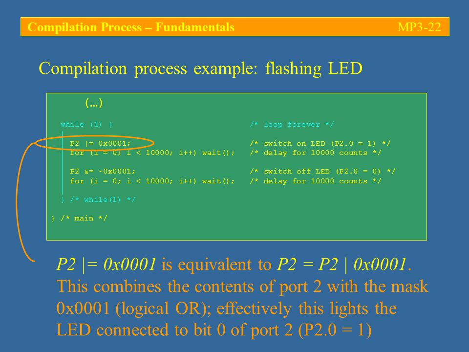 Compilation process example: flashing LED (…) while (1) { /* loop forever */ P2 |= 0x0001; /* switch on LED (P2.0 = 1) */ for (i = 0; i < 10000; i++) wait(); /* delay for counts */ P2 &= ~0x0001; /* switch off LED (P2.0 = 0) */ for (i = 0; i < 10000; i++) wait(); /* delay for counts */ } /* while(1) */ } /* main */ P2 |= 0x0001 is equivalent to P2 = P2 | 0x0001.