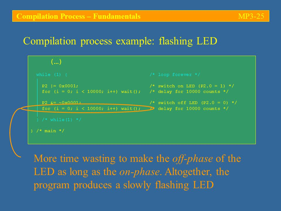 Compilation process example: flashing LED (…) while (1) { /* loop forever */ P2 |= 0x0001; /* switch on LED (P2.0 = 1) */ for (i = 0; i < 10000; i++) wait(); /* delay for 10000 counts */ P2 &= ~0x0001; /* switch off LED (P2.0 = 0) */ for (i = 0; i < 10000; i++) wait(); /* delay for 10000 counts */ } /* while(1) */ } /* main */ More time wasting to make the off-phase of the LED as long as the on-phase.