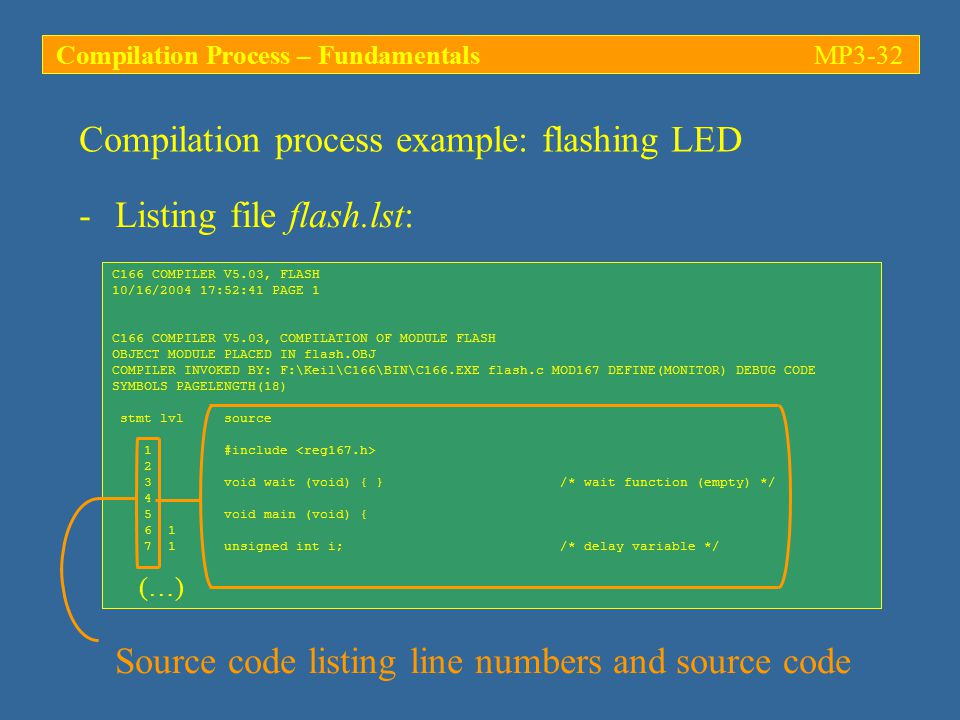 C166 COMPILER V5.03, FLASH 10/16/2004 17:52:41 PAGE 1 C166 COMPILER V5.03, COMPILATION OF MODULE FLASH OBJECT MODULE PLACED IN flash.OBJ COMPILER INVOKED BY: F:\Keil\C166\BIN\C166.EXE flash.c MOD167 DEFINE(MONITOR) DEBUG CODE SYMBOLS PAGELENGTH(18) stmt lvl source 1 #include 2 3 void wait (void) { } /* wait function (empty) */ 4 5 void main (void) { 6 1 7 1 unsigned int i; /* delay variable */ (…) Compilation process example: flashing LED -Listing file flash.lst: Source code listing line numbers and source code Compilation Process – FundamentalsMP3-32
