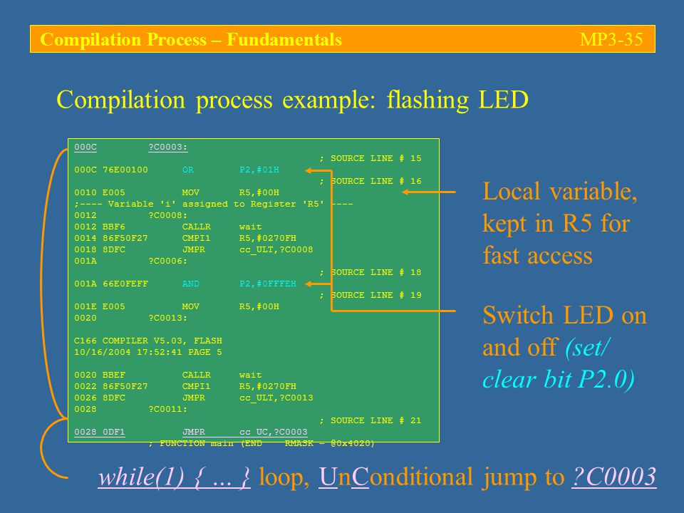 Compilation process example: flashing LED 000C ?C0003: ; SOURCE LINE # 15 000C 76E00100 OR P2,#01H ; SOURCE LINE # 16 0010 E005 MOV R5,#00H ;---- Variable i assigned to Register R5 ---- 0012 ?C0008: 0012 BBF6 CALLR wait 0014 86F50F27 CMPI1 R5,#0270FH 0018 8DFC JMPR cc_ULT,?C0008 001A ?C0006: ; SOURCE LINE # 18 001A 66E0FEFF AND P2,#0FFFEH ; SOURCE LINE # 19 001E E005 MOV R5,#00H 0020 ?C0013: C166 COMPILER V5.03, FLASH 10/16/2004 17:52:41 PAGE 5 0020 BBEF CALLR wait 0022 86F50F27 CMPI1 R5,#0270FH 0026 8DFC JMPR cc_ULT,?C0013 0028 ?C0011: ; SOURCE LINE # 21 0028 0DF1 JMPR cc_UC,?C0003 ; FUNCTION main (END RMASK = @0x4020) while(1) { … } loop, UnConditional jump to ?C0003 Local variable, kept in R5 for fast access Switch LED on and off (set/ clear bit P2.0) Compilation Process – FundamentalsMP3-35