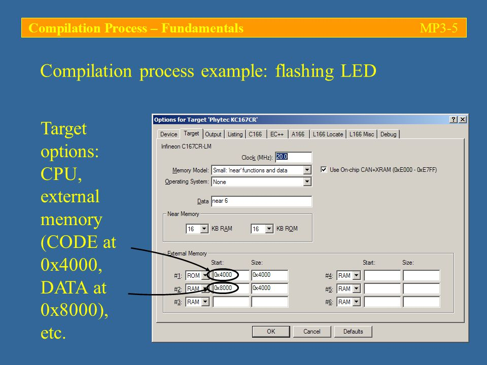 Compilation process example: flashing LED Target options: CPU, external memory (CODE at 0x4000, DATA at 0x8000), etc.