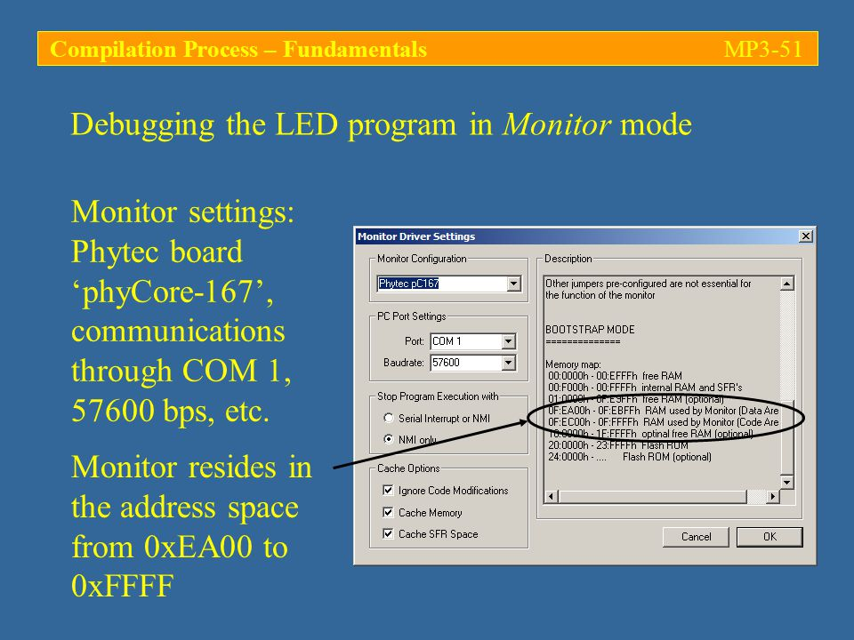 Monitor settings: Phytec board 'phyCore-167', communications through COM 1, 57600 bps, etc.