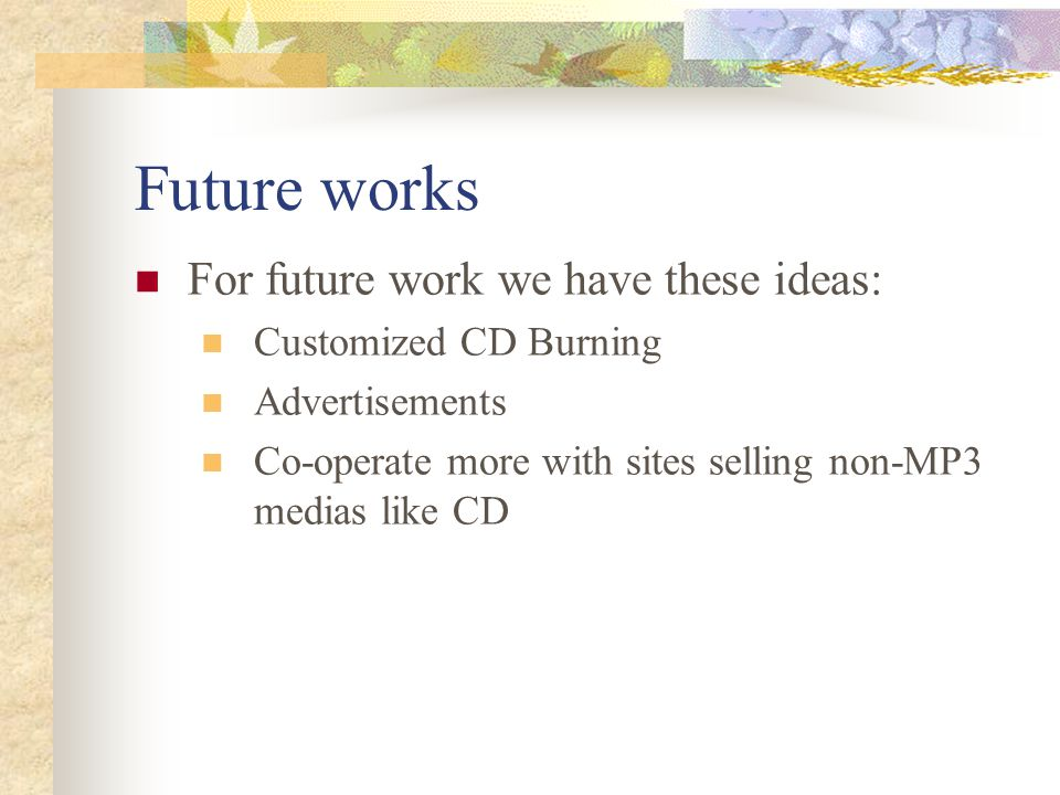 Future works For future work we have these ideas: Customized CD Burning Advertisements Co-operate more with sites selling non-MP3 medias like CD