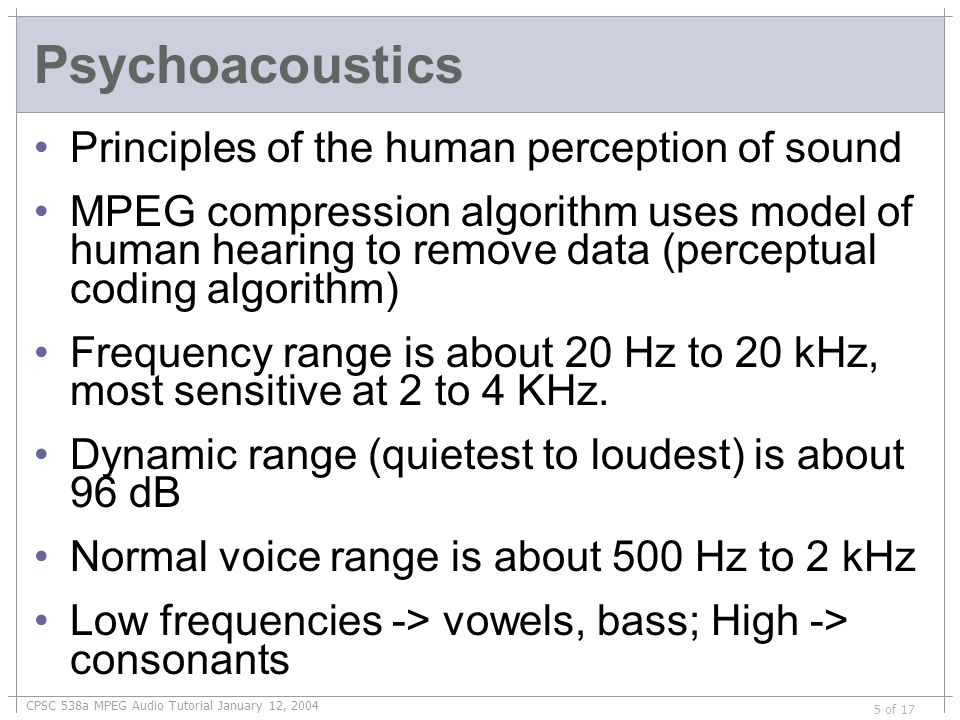 CPSC 538a MPEG Audio Tutorial January 12, 2004 6 of 17 Human Hearing Sensitivity Experiment: Put a person in a quiet room.
