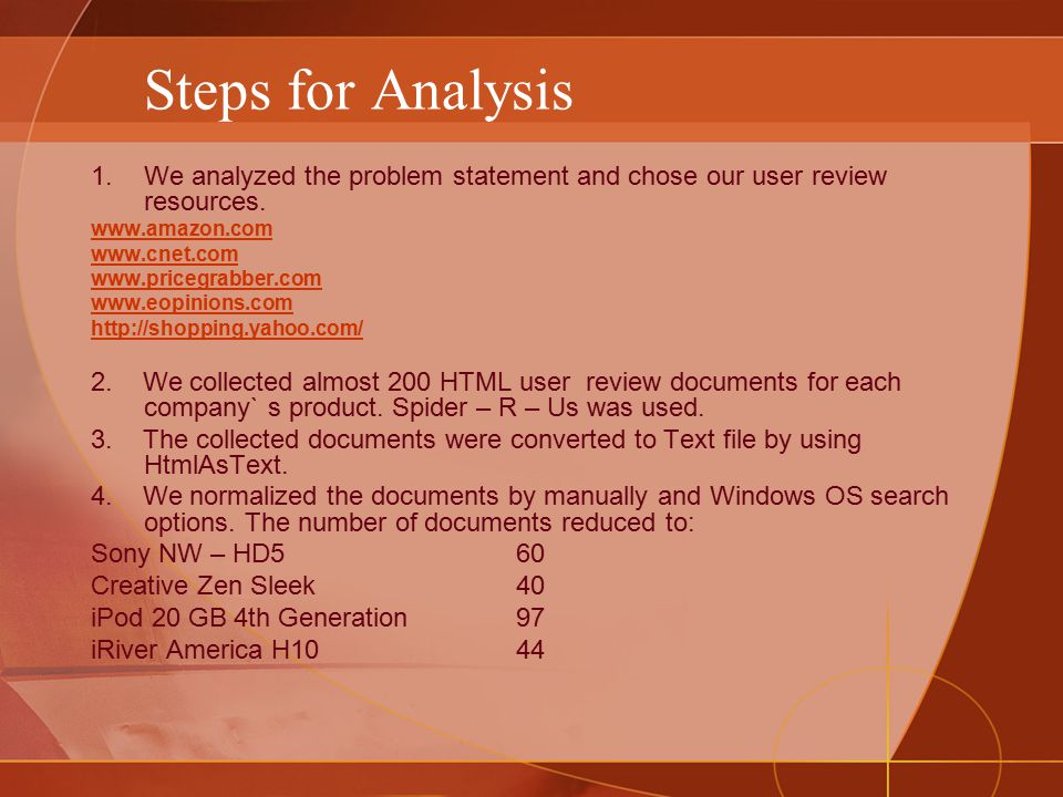 Steps for Analysis 1.We analyzed the problem statement and chose our user review resources.