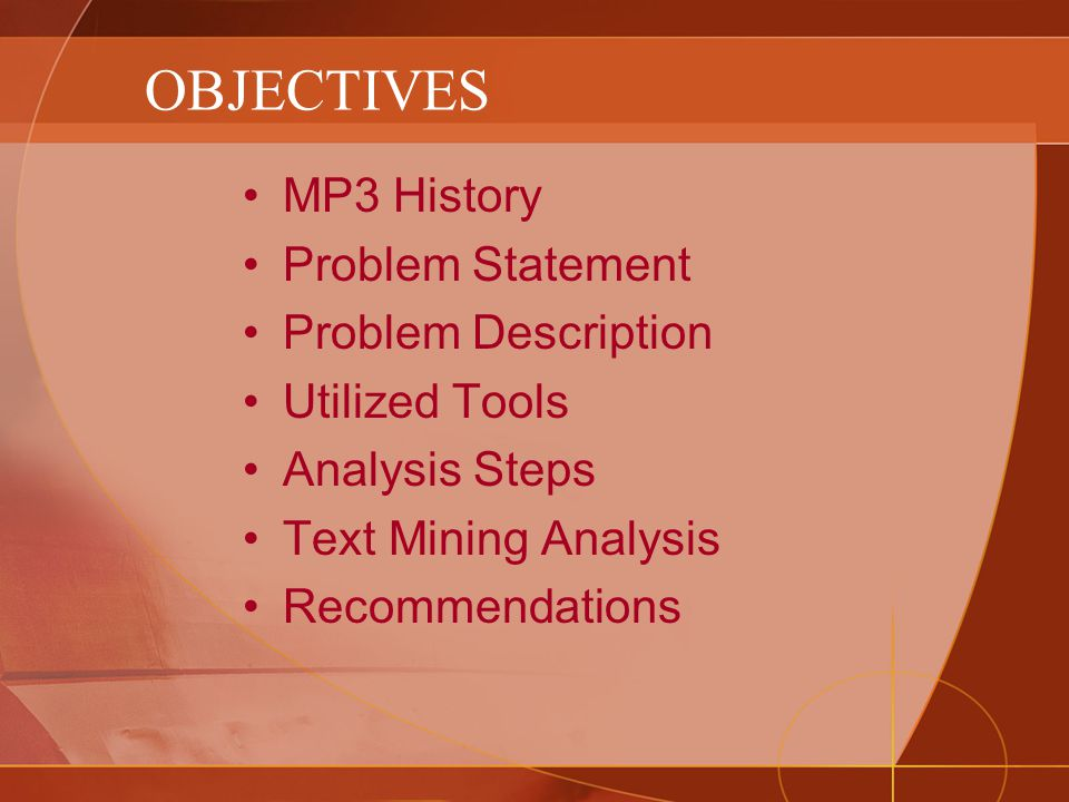 OBJECTIVES MP3 History Problem Statement Problem Description Utilized Tools Analysis Steps Text Mining Analysis Recommendations