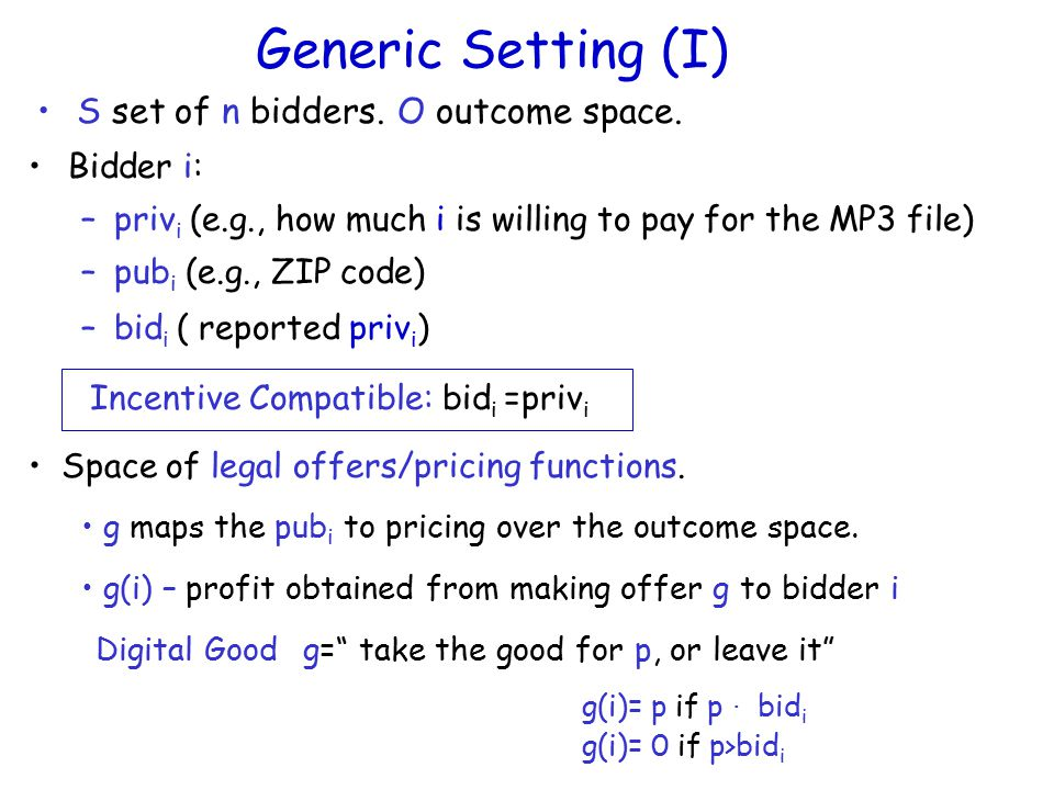 Generic Setting (I) S set of n bidders. Space of legal offers/pricing functions.