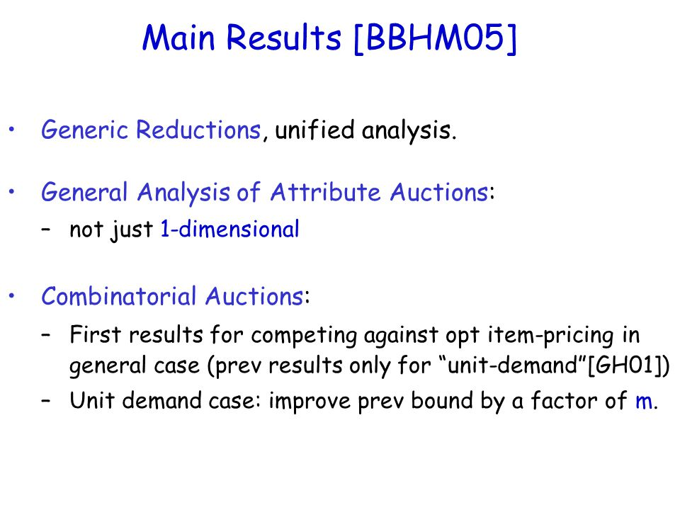 Main Results [BBHM05] Generic Reductions, unified analysis.