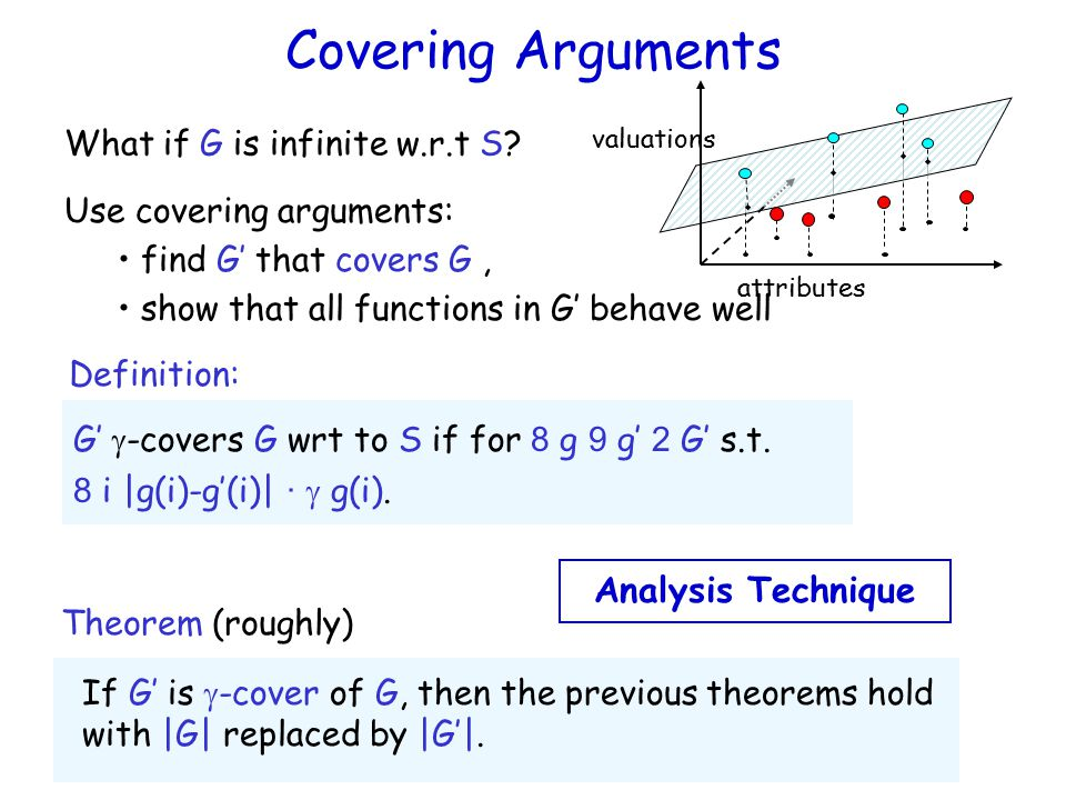 Covering Arguments Definition: G'  -covers G wrt to S if for 8 g 9 g' 2 G' s.t.