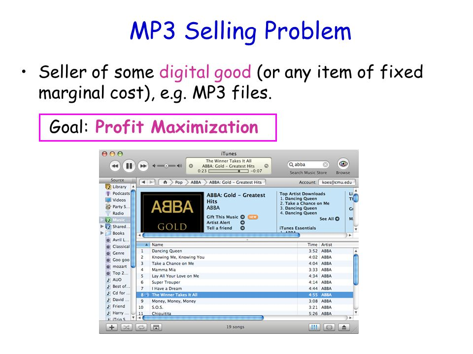 MP3 Selling Problem Seller of some digital good (or any item of fixed marginal cost), e.g.