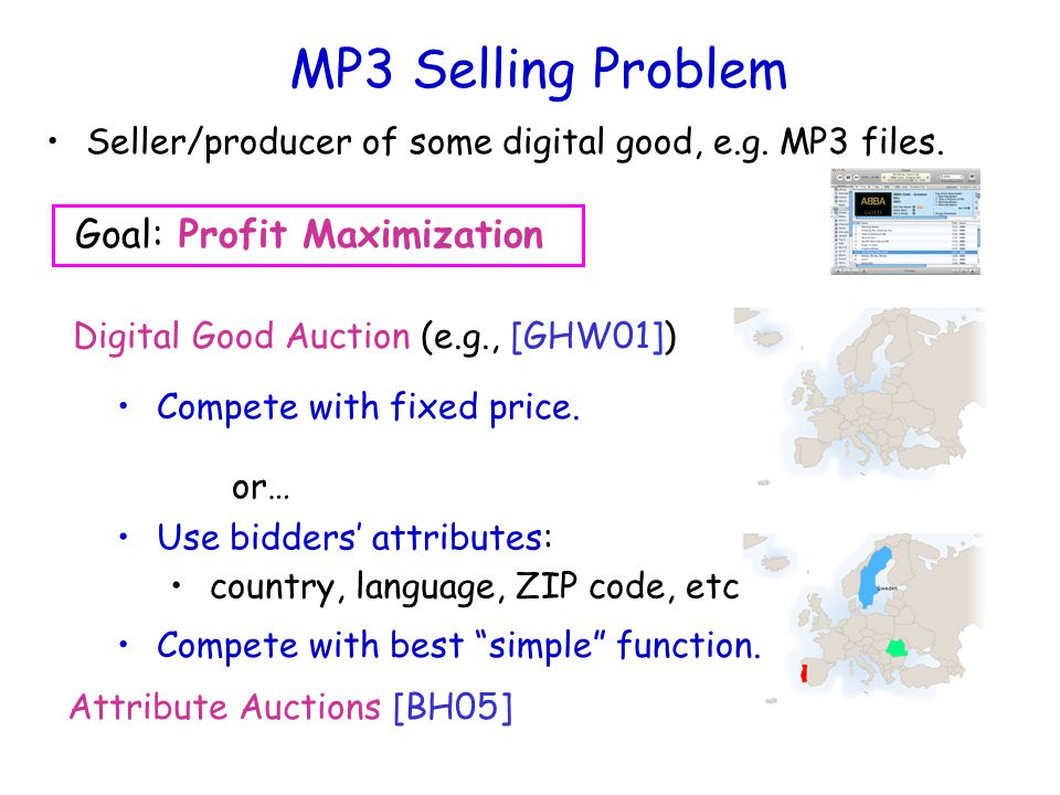 MP3 Selling Problem Seller/producer of some digital good, e.g.