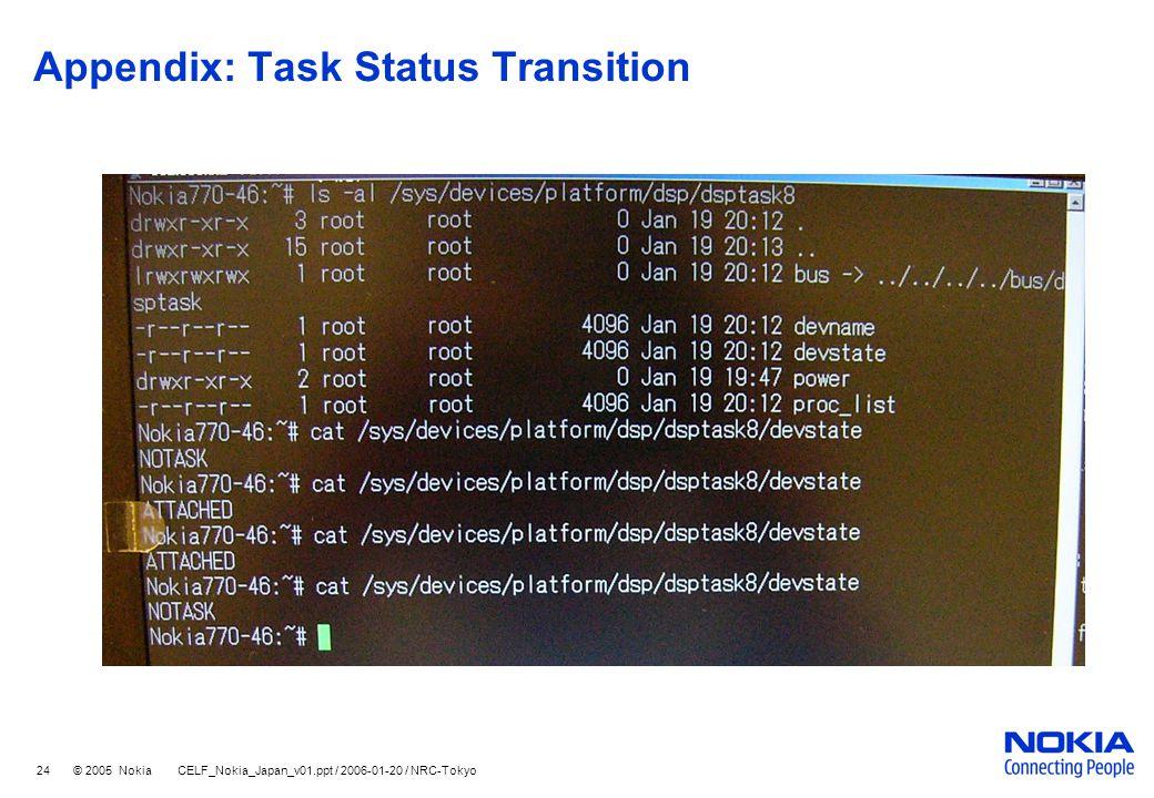 24 © 2005 Nokia CELF_Nokia_Japan_v01.ppt / 2006-01-20 / NRC-Tokyo Appendix: Task Status Transition