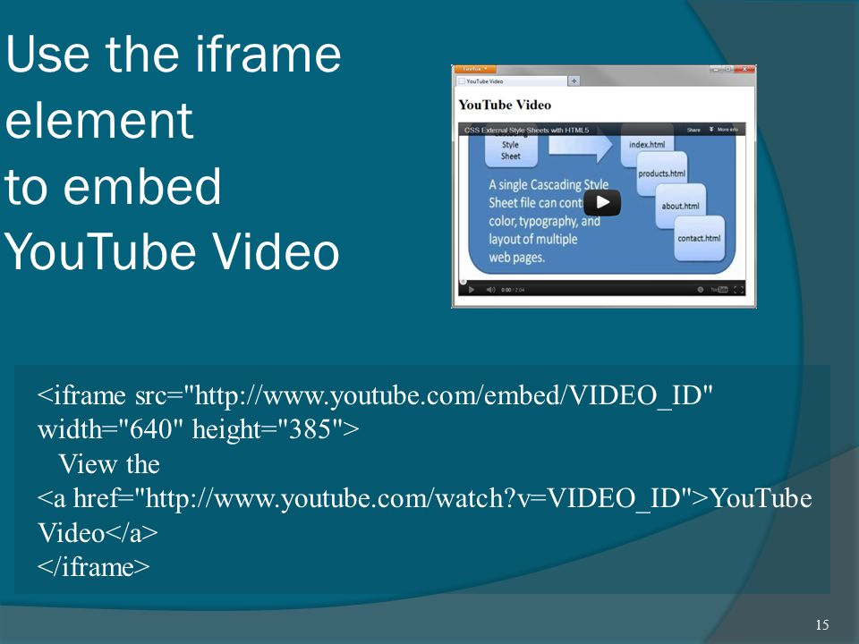 Use the iframe element to embed YouTube Video View the YouTube Video 15
