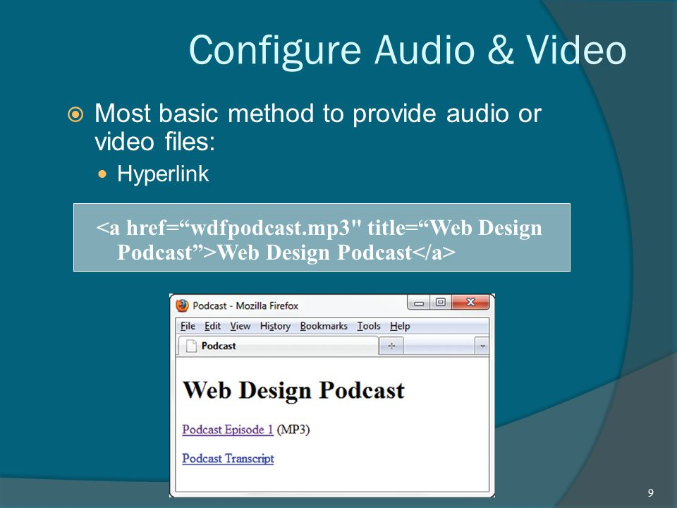 Configure Audio & Video  Most basic method to provide audio or video files: Hyperlink Web Design Podcast 9