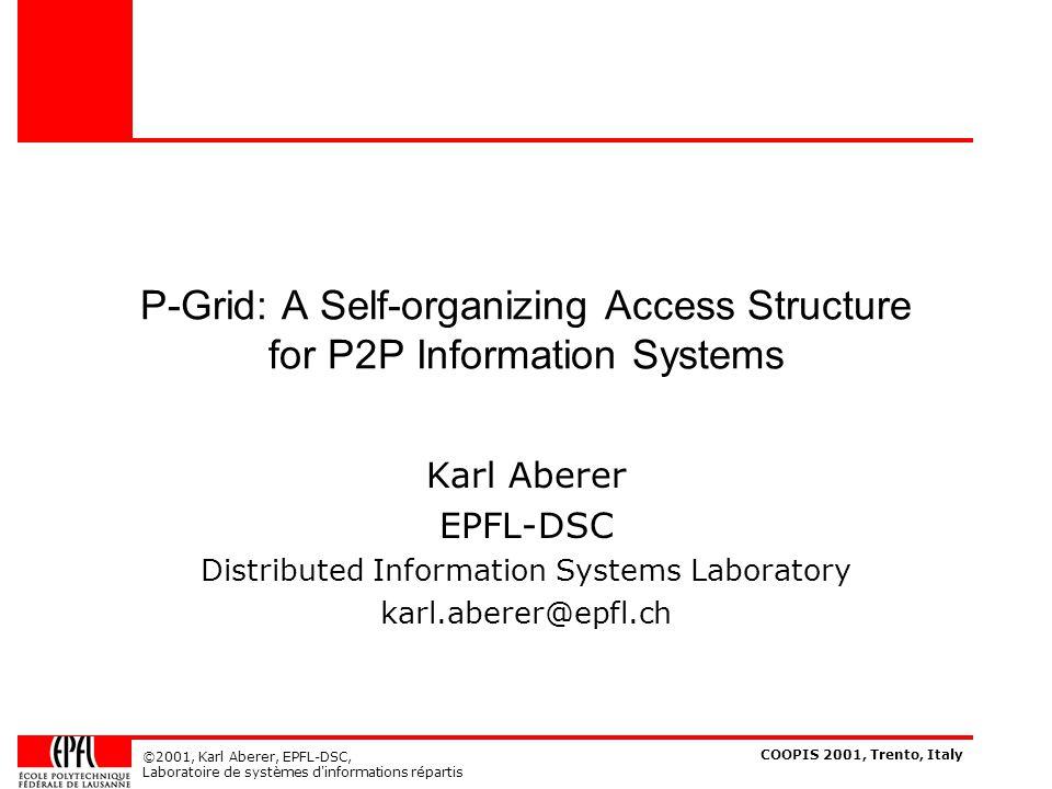 COOPIS 2001, Trento, Italy ©2001, Karl Aberer, EPFL-DSC, Laboratoire de systèmes d informations répartis References [Aberer01] Karl Aberer, Zoran Despotovic.