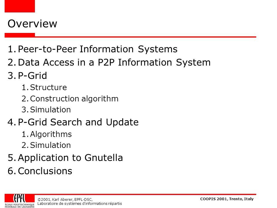 COOPIS 2001, Trento, Italy ©2001, Karl Aberer, EPFL-DSC, Laboratoire de systèmes d informations répartis Properties of P-Grid Bootstrap Algorithm Convergence .