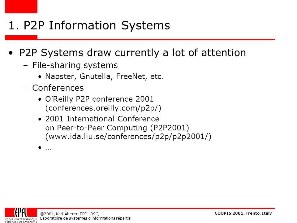 COOPIS 2001, Trento, Italy ©2001, Karl Aberer, EPFL-DSC, Laboratoire de systèmes d informations répartis Napster [www.napster.com] A Napster C 1.