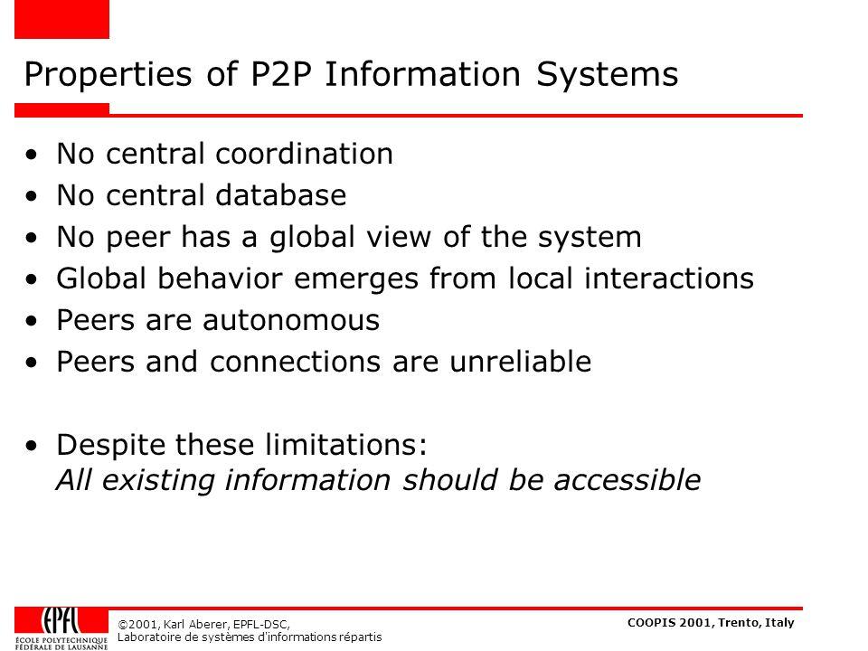 COOPIS 2001, Trento, Italy ©2001, Karl Aberer, EPFL-DSC, Laboratoire de systèmes d informations répartis 2.