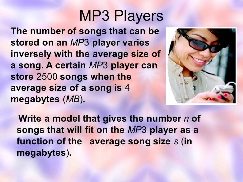 Make a table showing the number of songs that will fit on the MP3 player if the average size of a song is 2MB, 2.5MB, 3MB, and 5MB as shown below.