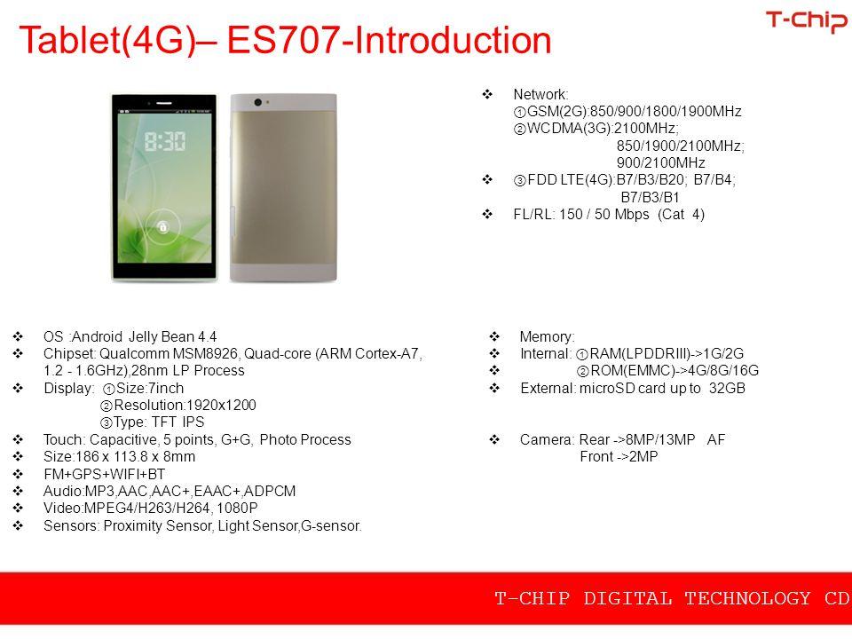 Tablet(4G)– ES707-Introduction  Network: ① GSM(2G):850/900/1800/1900MHz ② WCDMA(3G):2100MHz; 850/1900/2100MHz; 900/2100MHz  ③ FDD LTE(4G):B7/B3/B20;