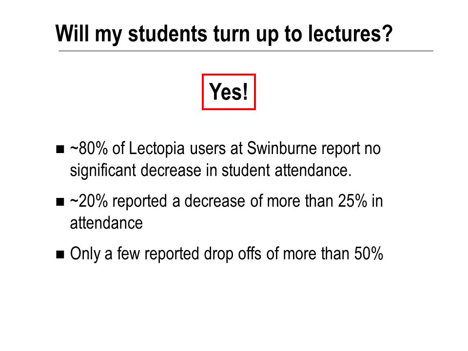 Will my students turn up to lectures? ~80% of Lectopia users at Swinburne report no significant decrease in student attendance. ~20% reported a decrea