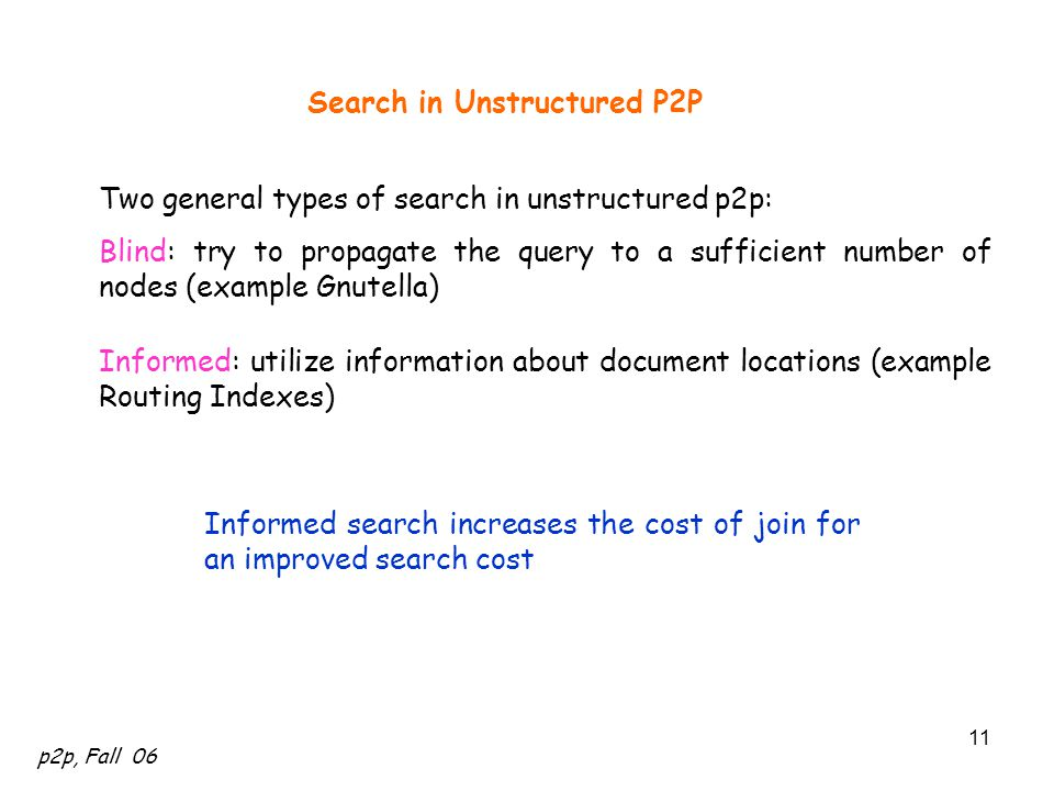 p2p, Fall 06 11 Search in Unstructured P2P Two general types of search in unstructured p2p: Blind: try to propagate the query to a sufficient number o