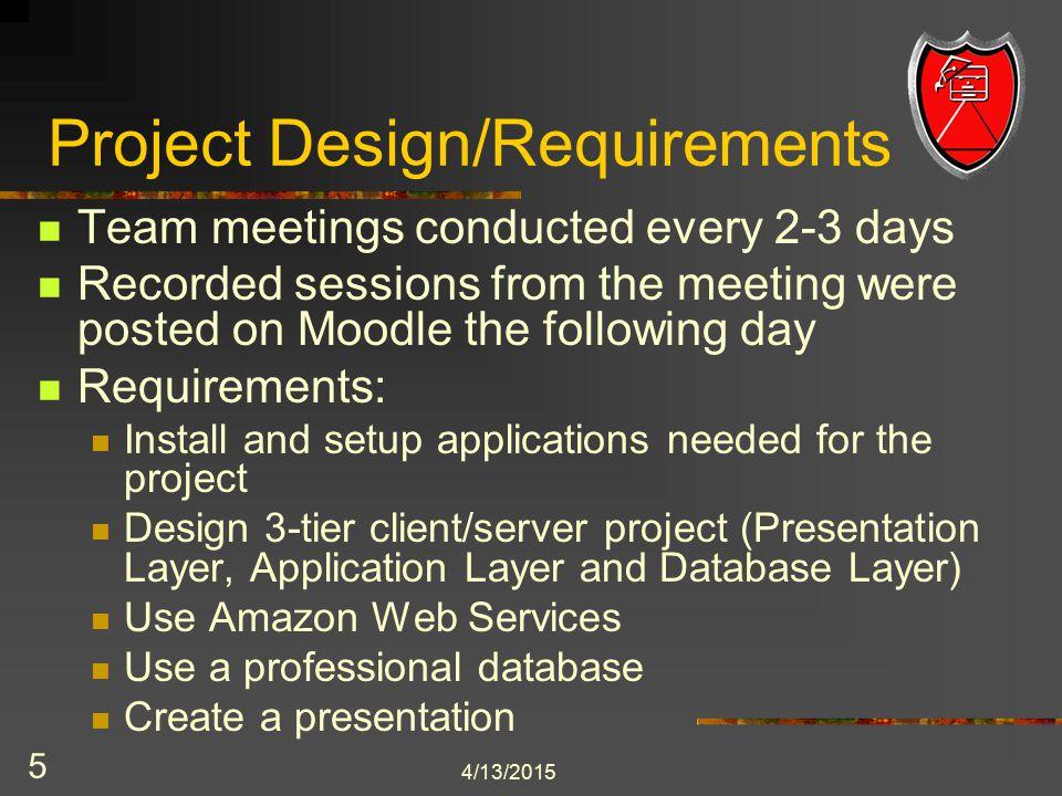 Project's Architectural Diagram 4/13/2015 6