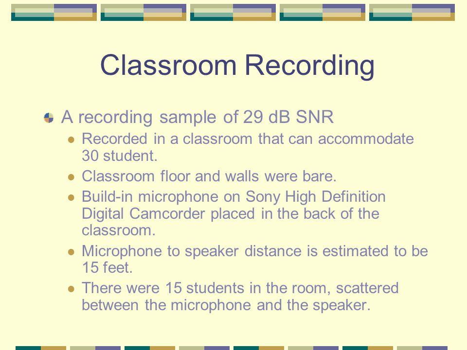 Three Examples Classroom recording (SNR 29 dB) Laptop recording (SNR 44 dB) Professional recording (SNR 90 dB)