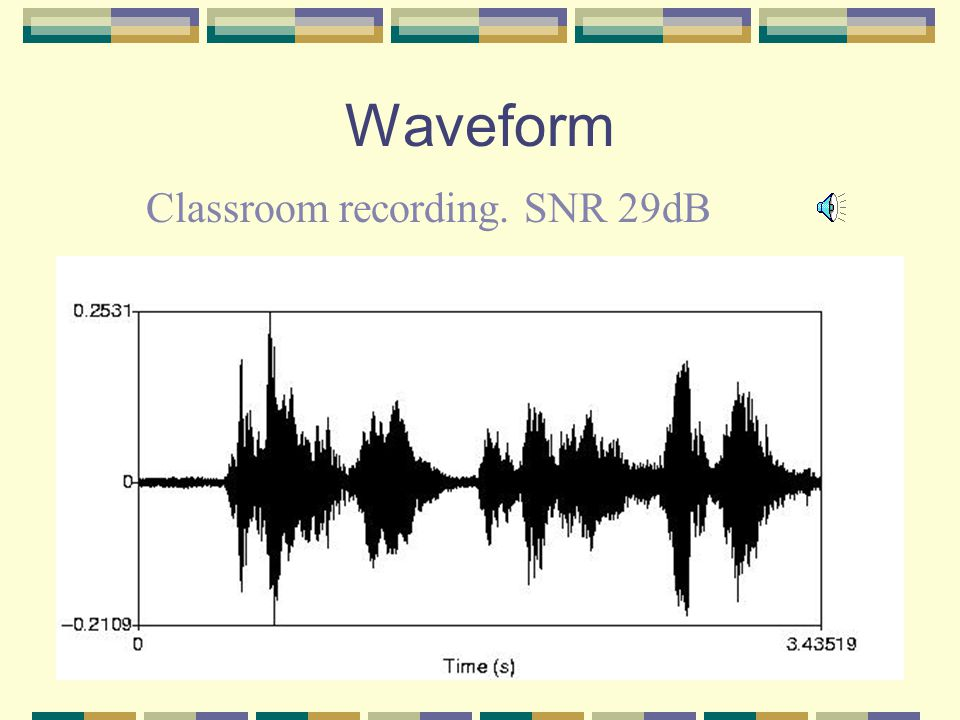 Classroom Recording A recording sample of 29 dB SNR Recorded in a classroom that can accommodate 30 student.