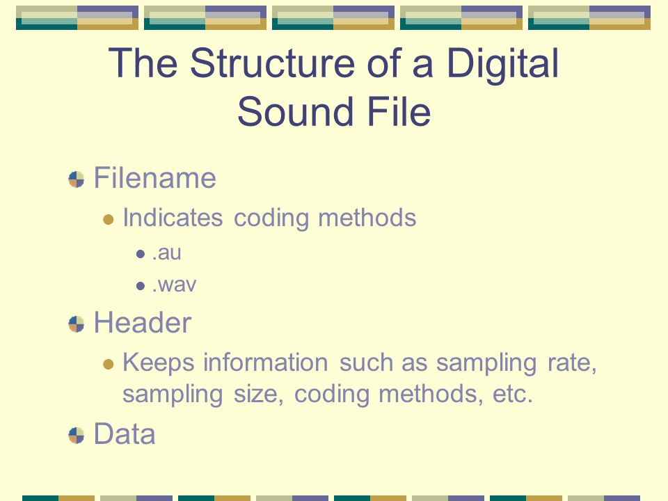 Sound File Formats A digitized sound file may have different Sampling rate (96K, 48K, 44.1K … 8K) Sample size (32 bits, 24 bits, 16 bits, 8 bits) Numb