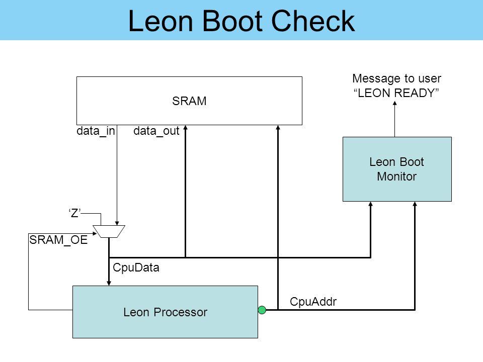 """Leon Boot Check Leon Processor 'Z' SRAM CpuData data_in SRAM_OE Leon Boot Monitor CpuAddr data_out Message to user """"LEON READY"""""""