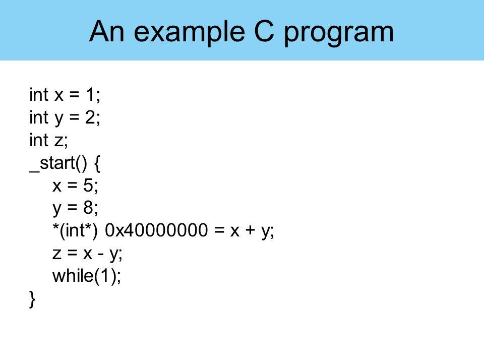 int x = 1; int y = 2; int z; _start() { x = 5; y = 8; *(int*) 0x40000000 = x + y; z = x - y; while(1); } An example C program