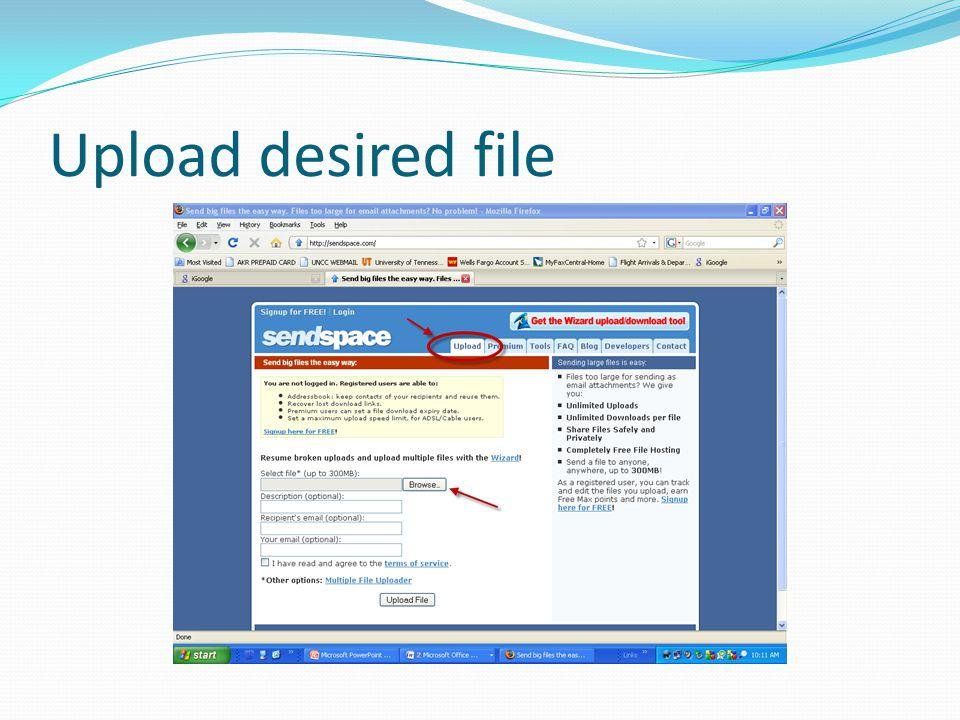 Upload desired file