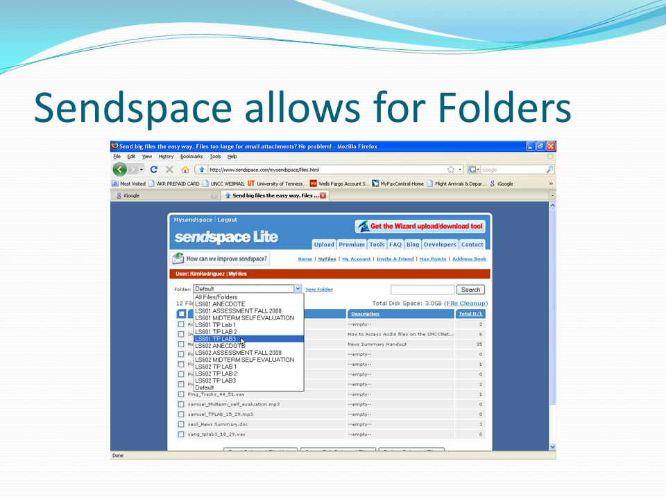 Sendspace allows for Folders