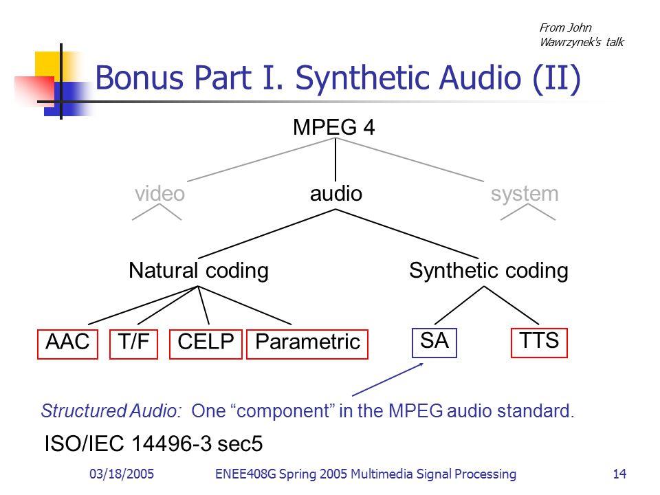 03/18/2005ENEE408G Spring 2005 Multimedia Signal Processing 14 Bonus Part I.