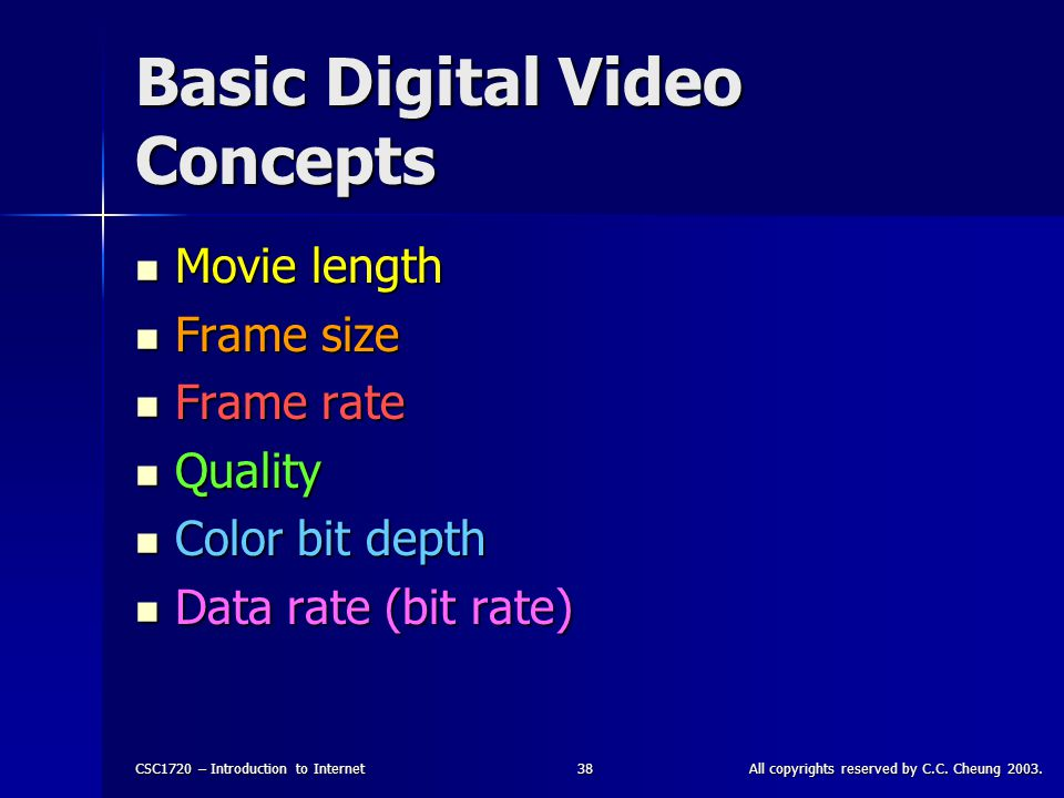 CSC1720 – Introduction to InternetAll copyrights reserved by C.C. Cheung 2003.38 Basic Digital Video Concepts Movie length Movie length Frame size Fra