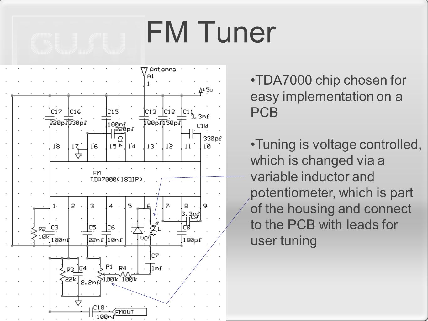 FM Tuner TDA7000 chip chosen for easy implementation on a PCB Tuning is voltage controlled, which is changed via a variable inductor and potentiometer, which is part of the housing and connect to the PCB with leads for user tuning