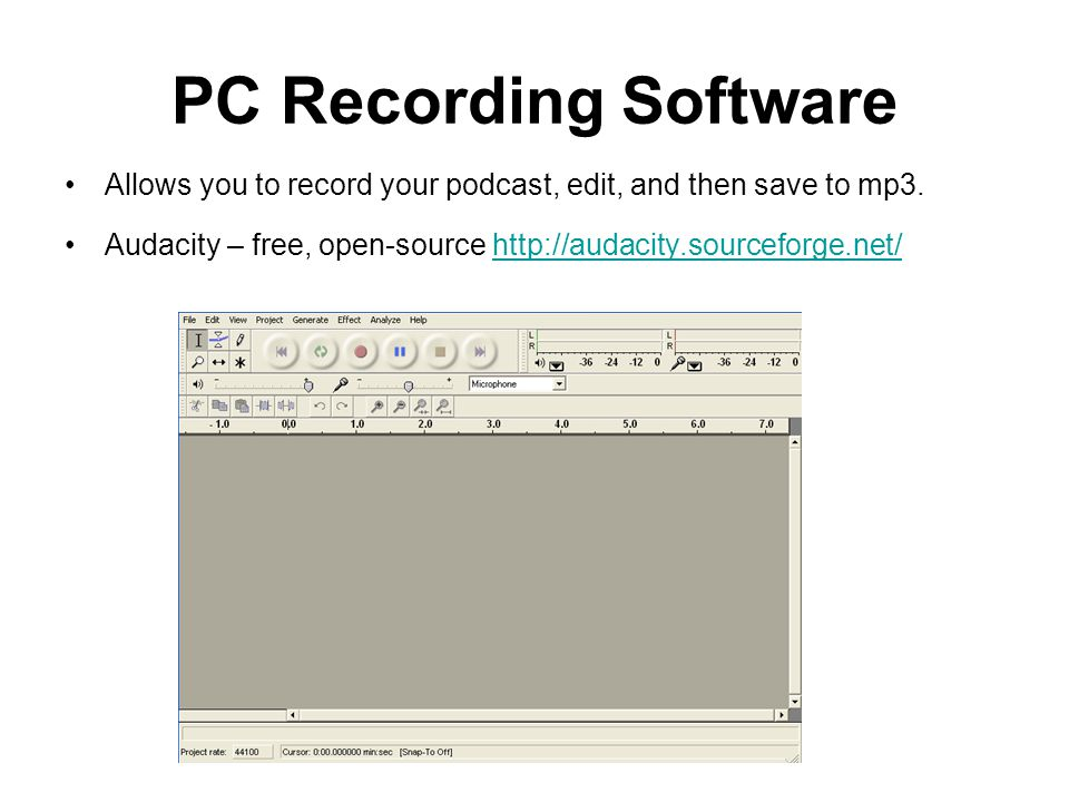 PC Recording Software Allows you to record your podcast, edit, and then save to mp3.