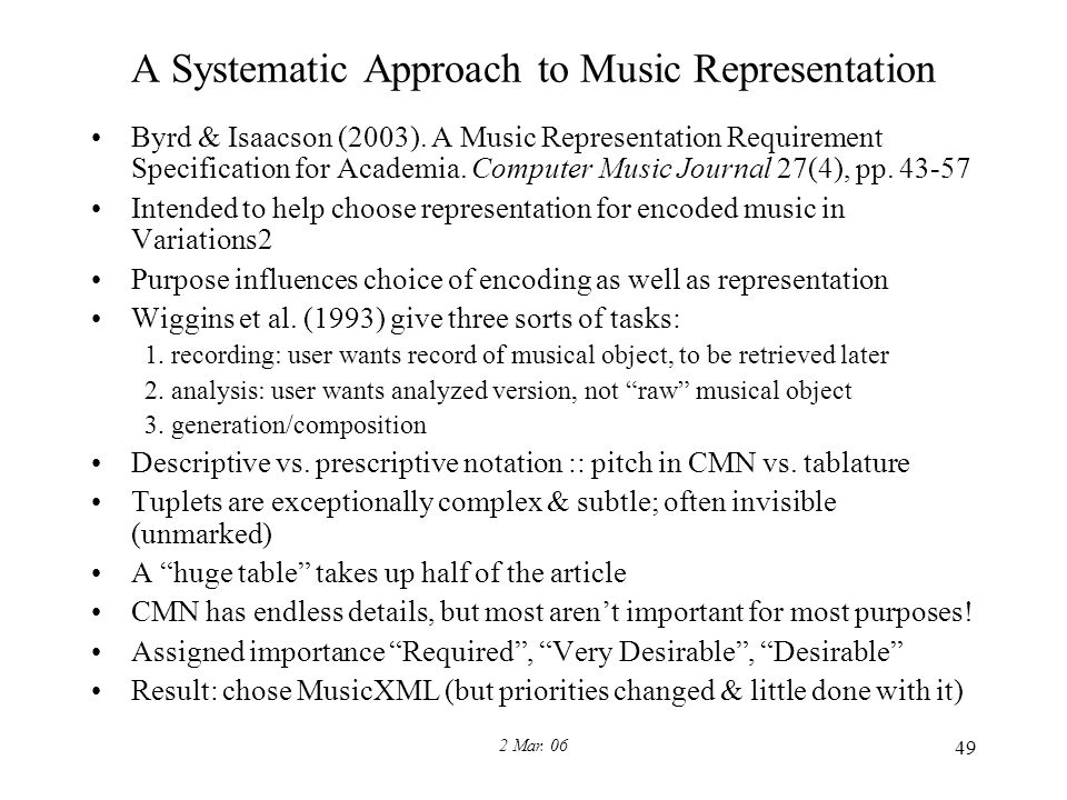2 Mar. 06 49 A Systematic Approach to Music Representation Byrd & Isaacson (2003).