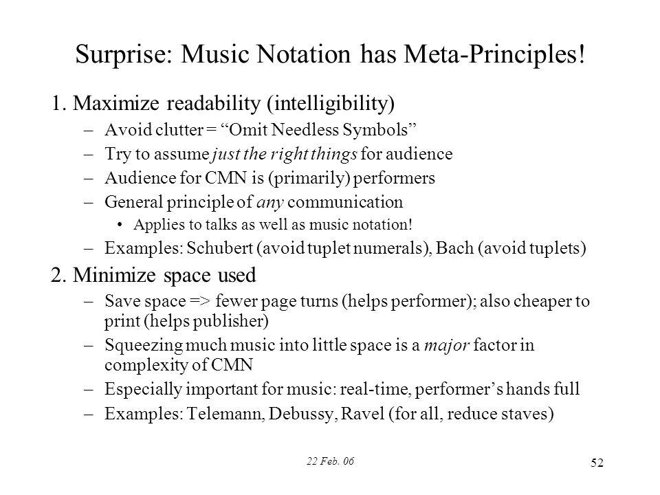 22 Feb. 06 52 Surprise: Music Notation has Meta-Principles.