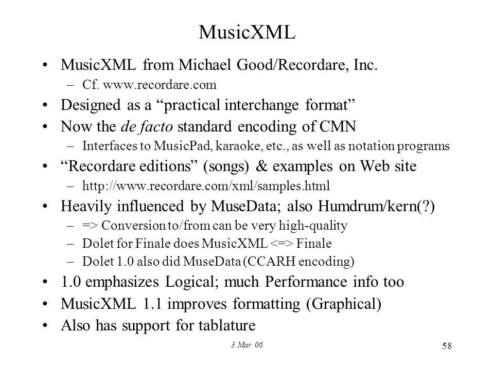 3 Mar. 06 58 MusicXML MusicXML from Michael Good/Recordare, Inc.