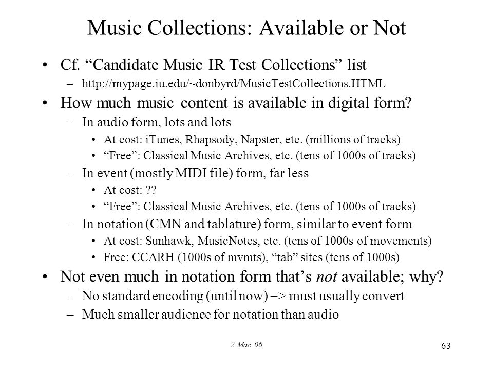 2 Mar. 06 63 Music Collections: Available or Not Cf.