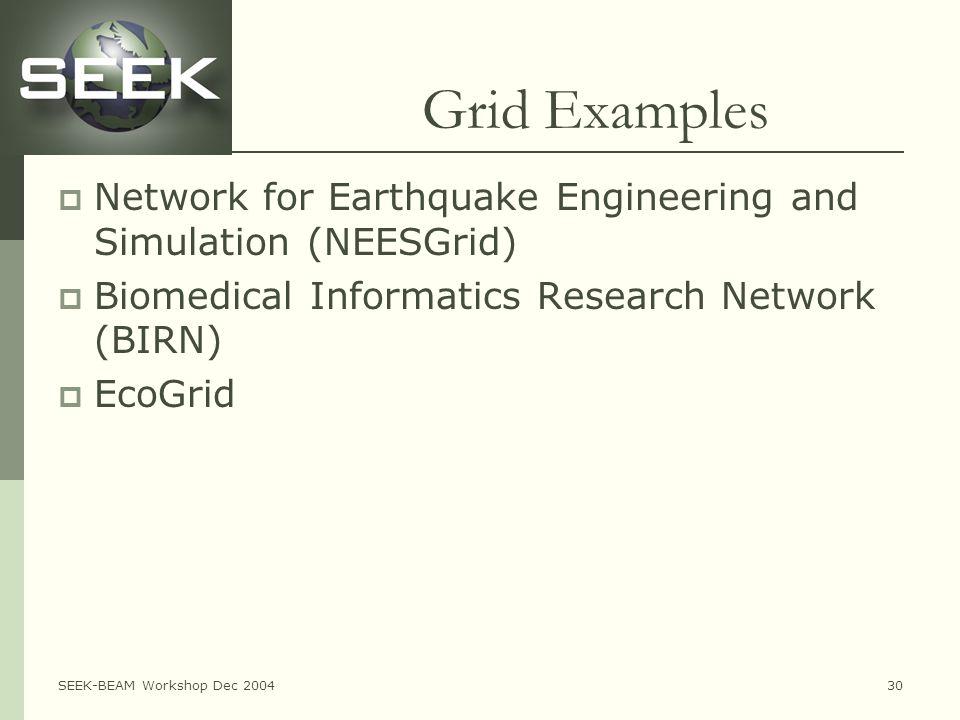 SEEK-BEAM Workshop Dec 200430 Grid Examples  Network for Earthquake Engineering and Simulation (NEESGrid)  Biomedical Informatics Research Network (BIRN)  EcoGrid