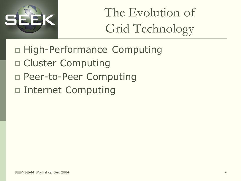 SEEK-BEAM Workshop Dec 20044 The Evolution of Grid Technology  High-Performance Computing  Cluster Computing  Peer-to-Peer Computing  Internet Computing