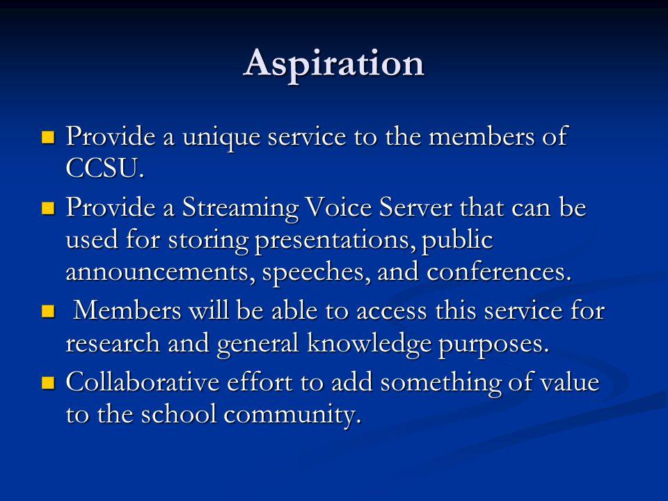Aspiration Provide a unique service to the members of CCSU.
