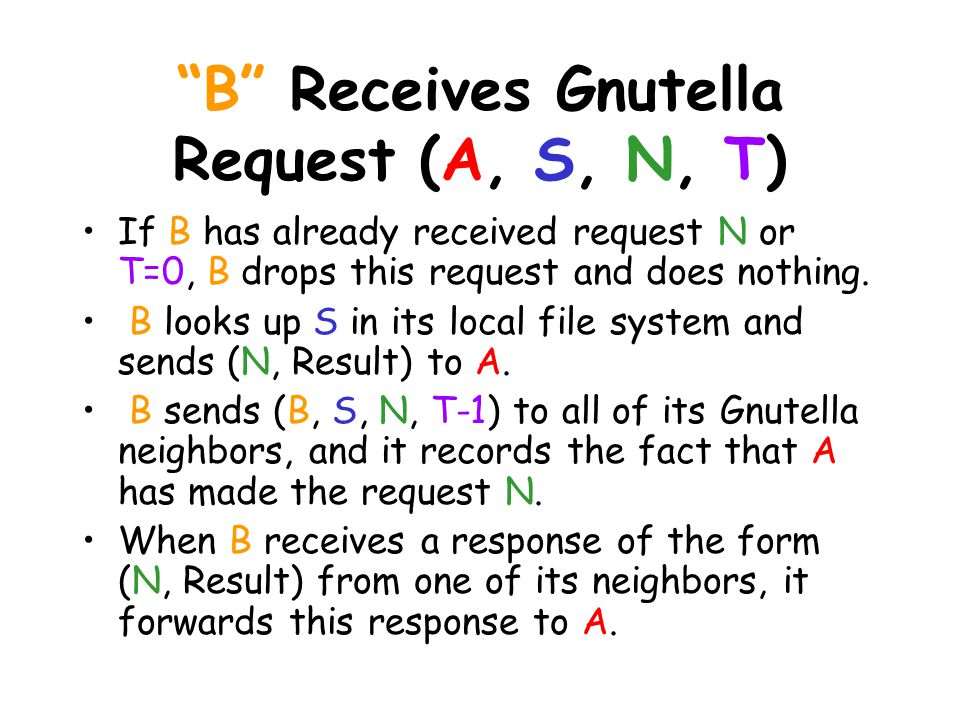 B Receives Gnutella Request (A, S, N, T) If B has already received request N or T=0, B drops this request and does nothing.
