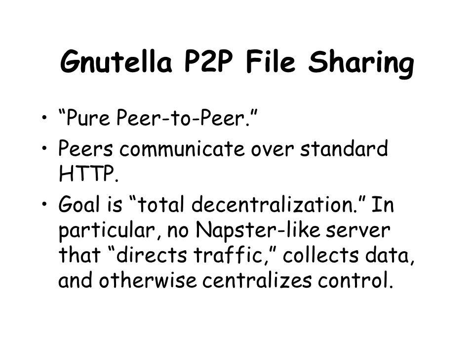 Gnutella P2P File Sharing Pure Peer-to-Peer. Peers communicate over standard HTTP.
