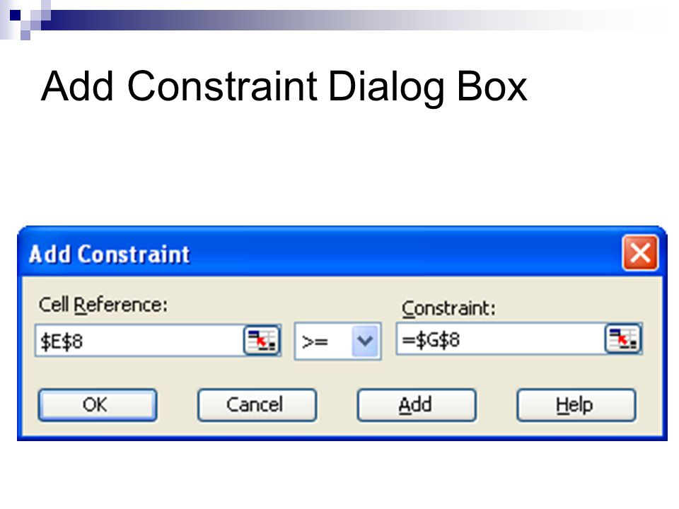 Add Constraint Dialog Box