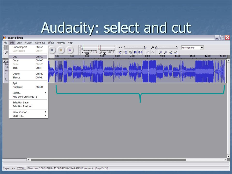 Audacity: select and cut